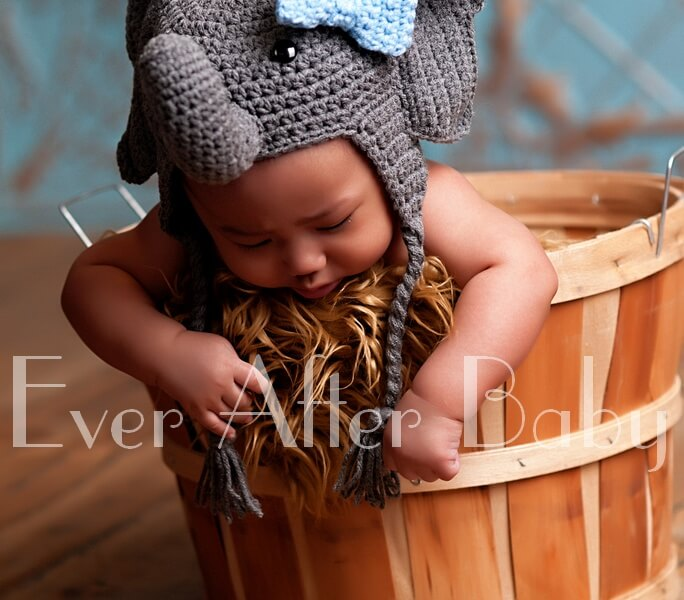 Four month old in basket wearing elephant hat.