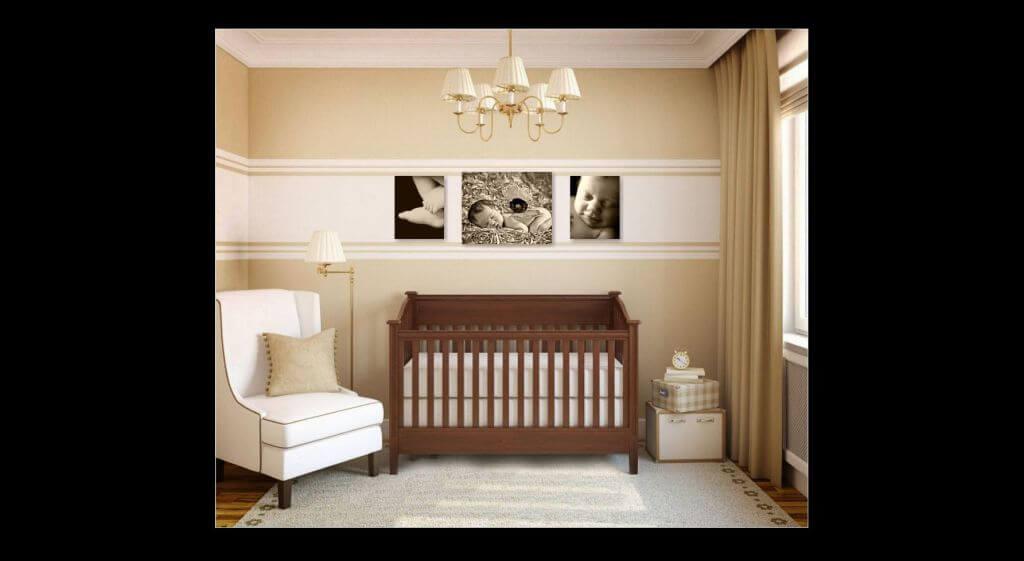 Nursery Room, Wooden Crib, Wall Grouping