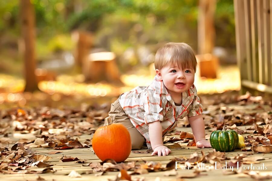 Baby crawling across bridge with fallen leaves.