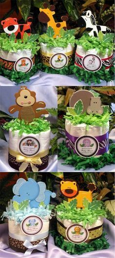 Animal diaper cakes for baby shower