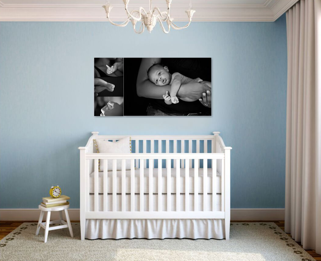 Blue Nursery with Black and White Wall Collection