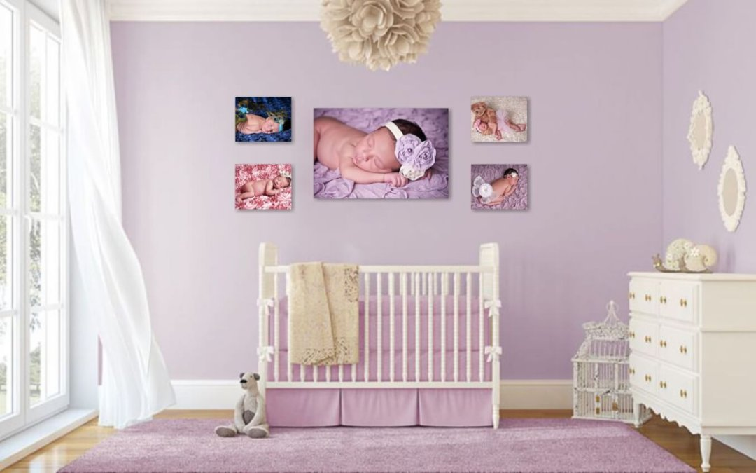 Newborn photographer Northern VA | Cascades VA | Children Photography | Sweet Baby Girl Wall Grouping