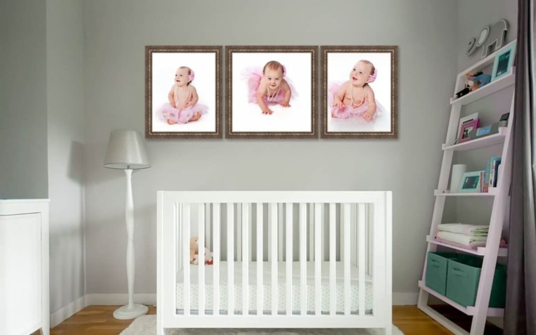 Maternity pictures | Reston VA	 | Family photos | Three Framed Baby Portraits Above the Crib